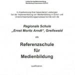 Urkunde_Referenzschule für Medienbildung