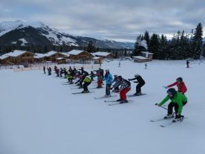 .. bei der morgendlichen Skigymnastik